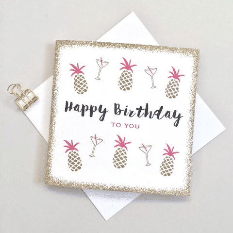 ancienne ambiance- pineapples birthday card - always sparkle birthday cards
