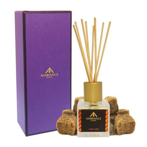 giftboxed amber scented reed diffuser - amber reed diffuser - ambra reed diffuser - home fragrances ancienne ambiance
