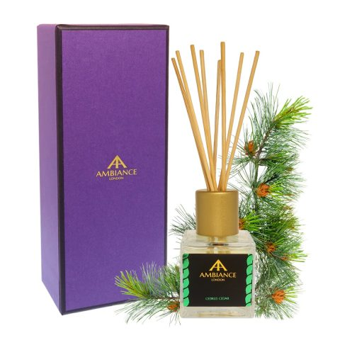 giftboxed cedar scented reed diffuser - cedar reed diffuser - cedrus reed diffuser - home fragrances ancienne ambiance