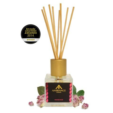 beauty shortlist award winning rose scented reed diffuser - damask rose reed diffuser - rose reed diffuser - home fragrances ancienne ambiance