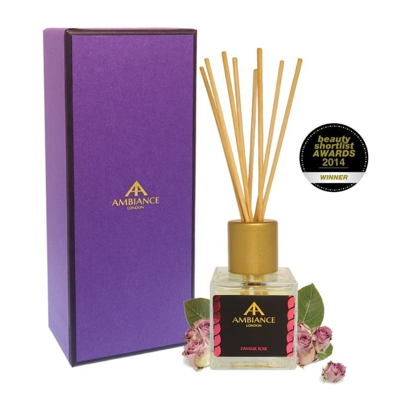 beauty shortlist award winning rose scented reed diffuser - damask rose reed diffuser giftboxed - rose reed diffuser - home fragrances ancienne ambiance