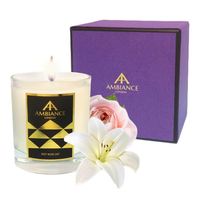 ancienne ambiance - Eset Luxury Candle - Rose Lily Scented Candle with giftbox