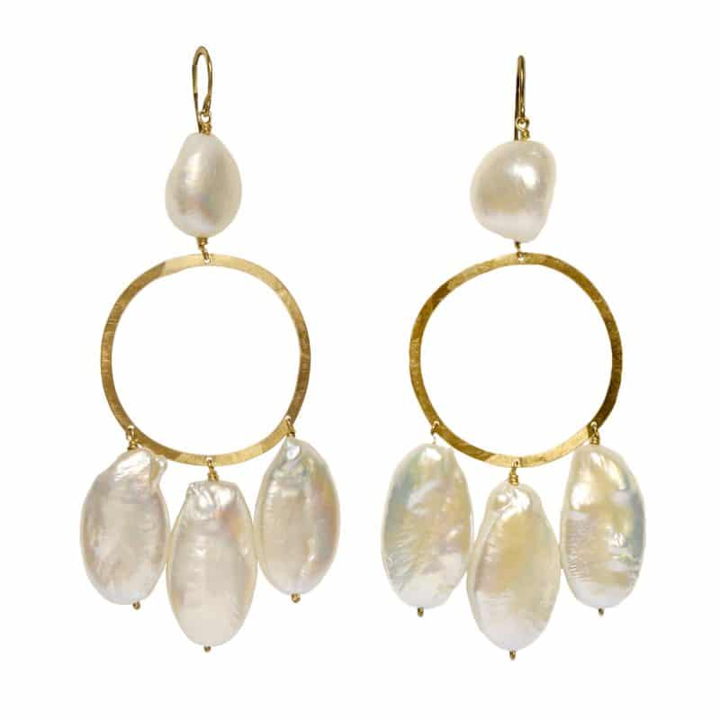 claire van holthe fresh water pearl chandelier earrings - statement pearl earrings - ancienne ambiance