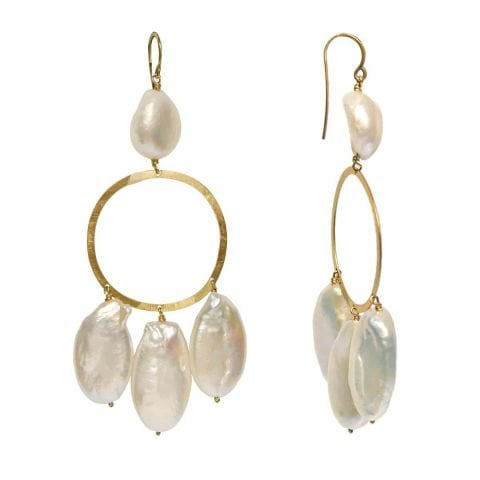 claire van holthe baroque pearl chandelier earrings - statement pearl earrings - ancienne ambiance