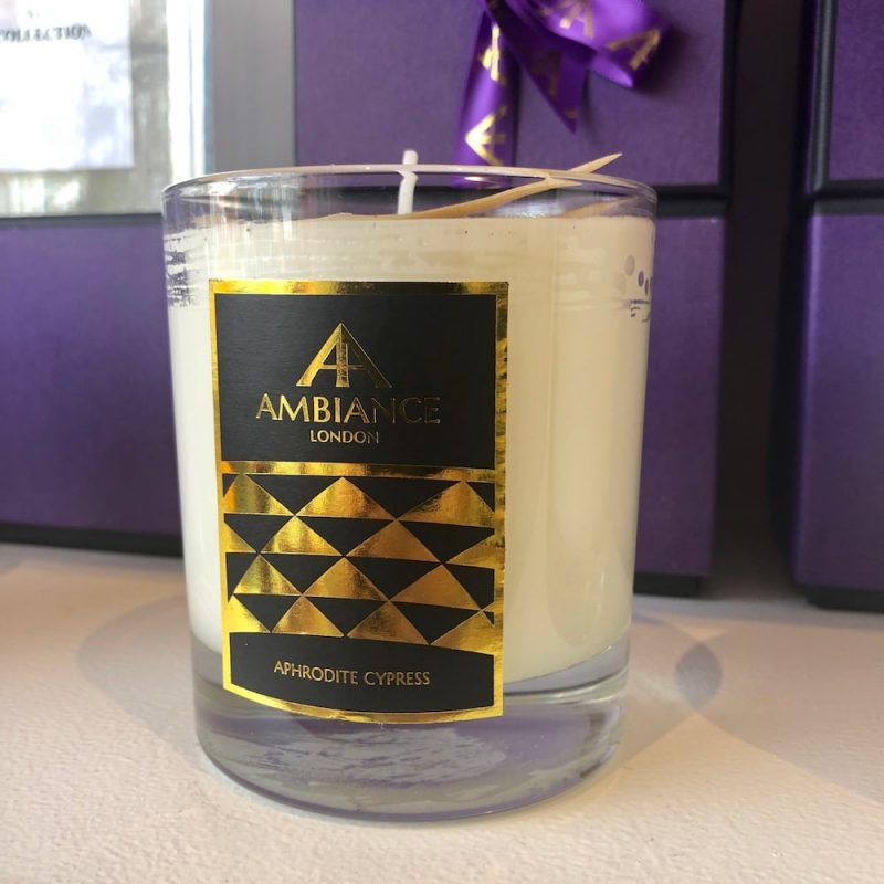 ancienne ambiance luxury scented candles - aphrodite cypress candle shelfie