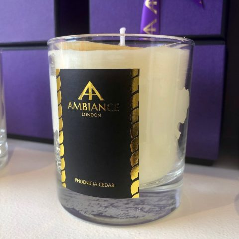 ancienne ambiance luxury scented candles - phoenicia cedar candle shelfie