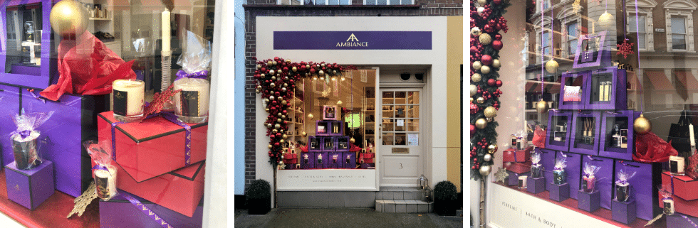 ancienne ambiance luxury scented candles and luxury gifts heart of Chelsea, London Window Displays