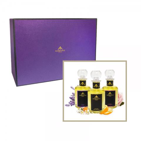 luxury aromatherapy oils - luxury bath oils - luxury body oils gift set - ancienne ambiance giftboxed set
