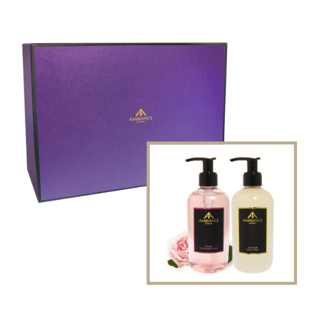 beauty gift set- rose hand wash and lotion giftboxed set - ancienne ambiance