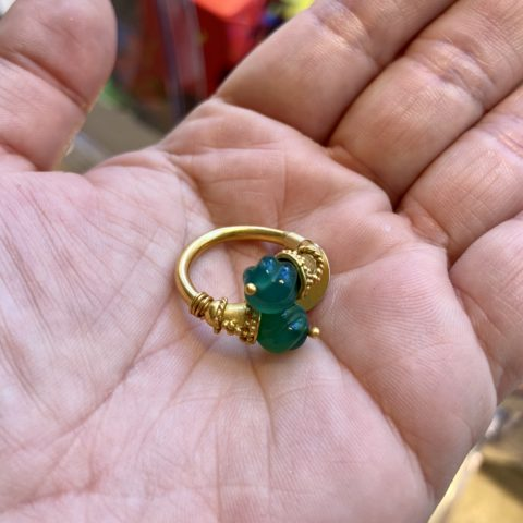 ancienne ambiance heritage 21k gold ancienne ambiance etruscan revival jade ring - etruscan ring - etruscan inspired ring