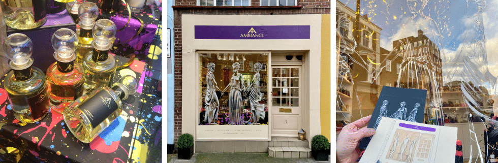 ancienne ambiance luxury scented candles and luxury gifts heart of Chelsea, London - three graces window art
