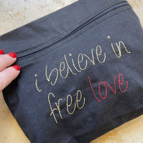 ancienne ambiance - melissa wear your heart - embroidery makeup bag - i belive in free love pouch front