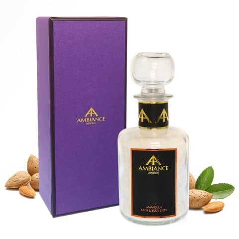 Luxury Almond Scented Bath Salts - Almond Milk Salts - Ancienne Ambiance Glass Bottle Bath Soak with Gift Box