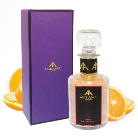 Luxury Orange Scented Bath Salts - Orange Zest Salts - Ancienne Ambiance Glass Bottle Bath Soak with Gift Box