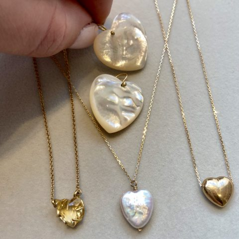 claire van holthe heart jewellery - heart jewelry - mother of pearl earrrings - heart necklaces - heart earrings - ancienne ambiance