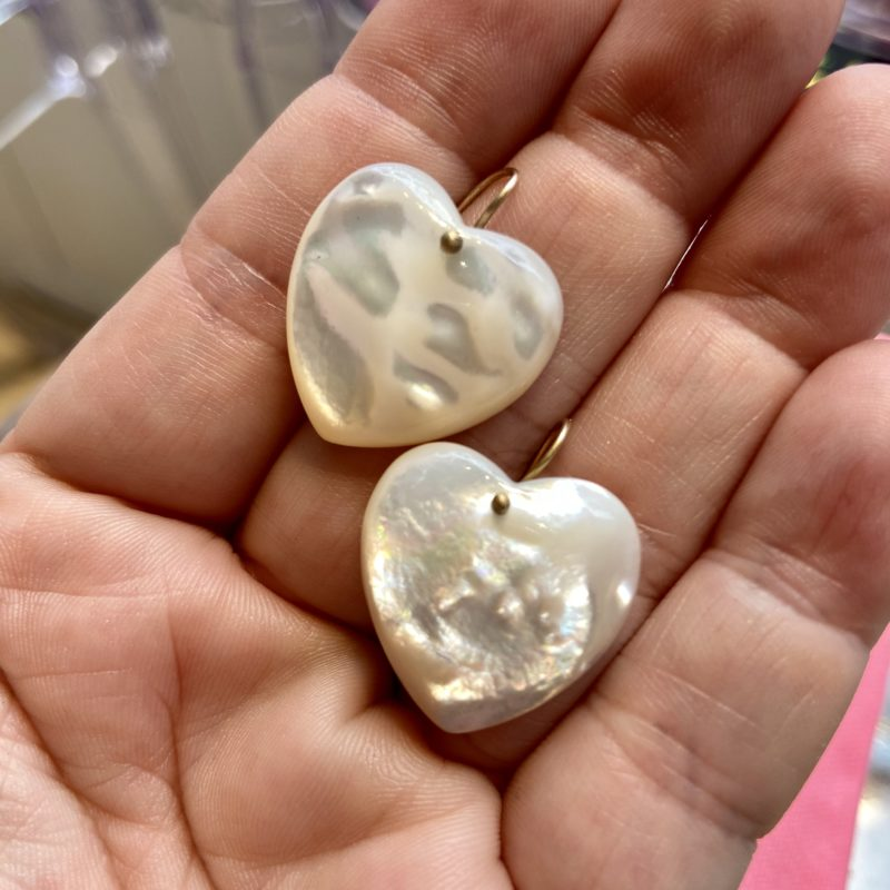 claire van holthe mother of pearl earrings - heart earrings - ancienne ambiance