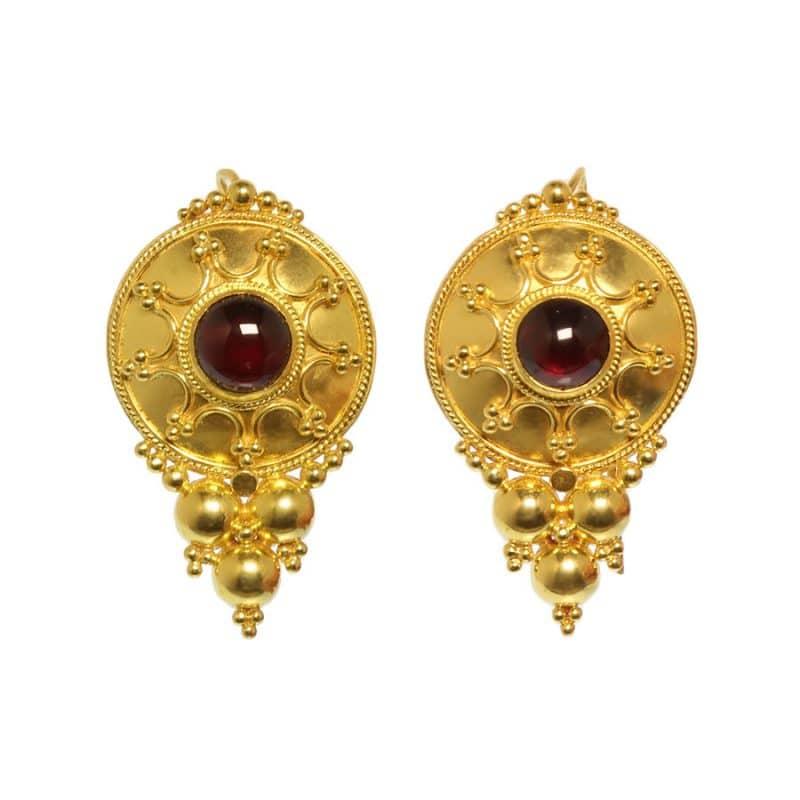ancienne ambiance london - 21k gold etruscan revival garnet earrings