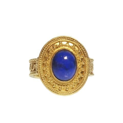 ancienne ambiance london - 21k gold etruscan revival lapis lazuli ring