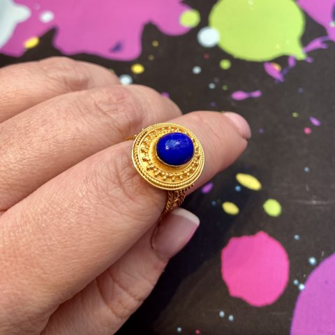Etruscan Revival Ring - ancienne ambiance london - heritage jewellery - 21K Gold Lapis Lazuli Ring