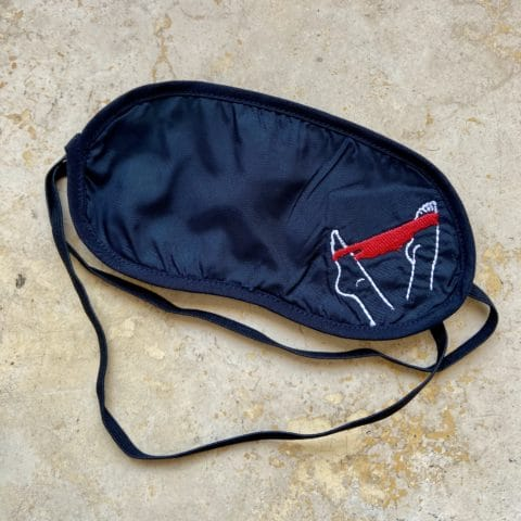 ancienne ambiance - melissa wear your heart sleep mask - black sleep mask with embroidery