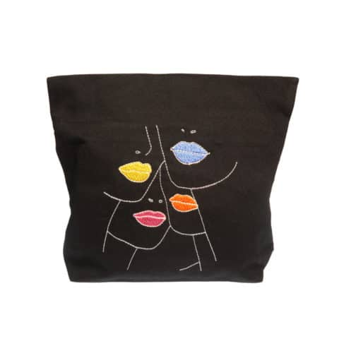 ancienne ambiance x melissa wear your heart goddess vibes black lips pouch - lips bag