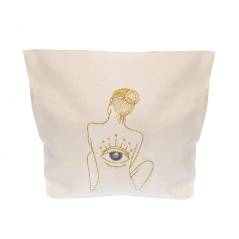 ancienne ambiance x melissa wear your heart goddess vibes gold embroidery eye of horus white pouch
