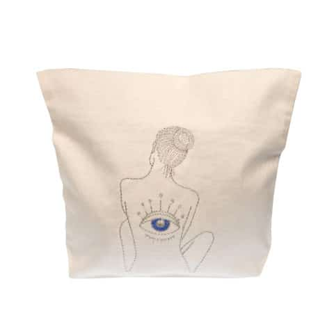 ancienne ambiance x melissa wear your heart goddess vibes silver embroidery eye of horus white pouch