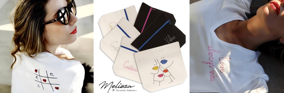 International women's day - Melissa wear your heart x ancienne ambiance london - fashion accessories - goddess vibes pouches - embroidery t-shirts