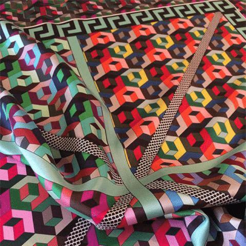 ancienne ambiance silk twill scarf - athena silk scarf - greek key print silk scarf
