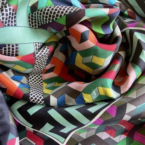 greek key silk twill scarf - athena silk scarf - greek key print silk scarf - ancienne ambiance scarves
