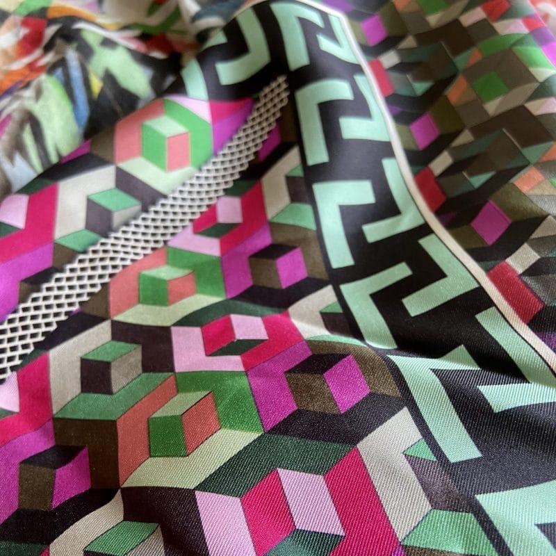 silk twill scarf - athena silk scarf - greek key print silk scarf - ancienne ambiance
