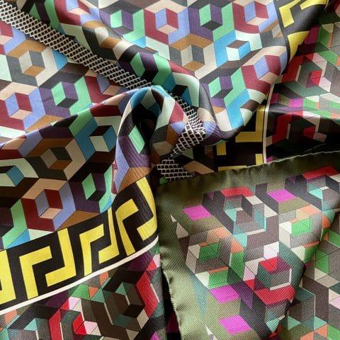greek key silk scarf - minerva silk scarf - ancienne ambiance luxury scarves