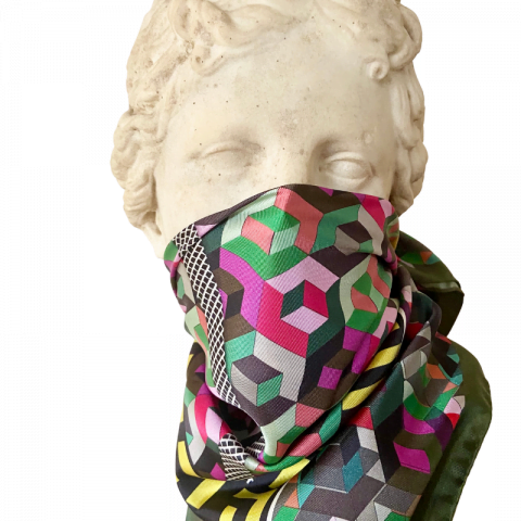 goddess statue - minerva silk scarf face covering - ancienne ambiance