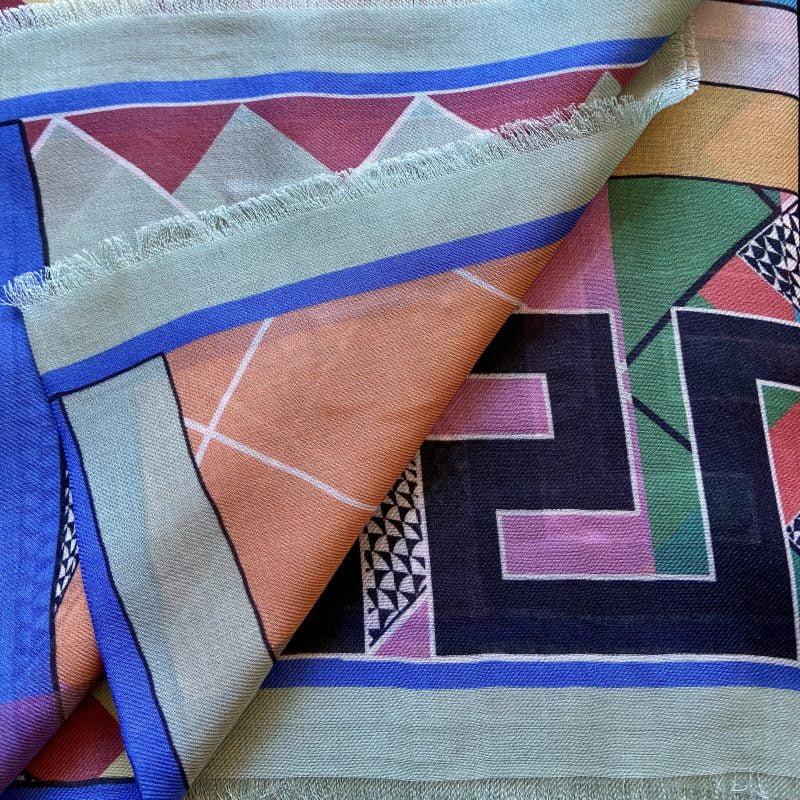 greek key scarf - aphrodite grey cashmere blend scarf - ancienne ambiance luxury scarves