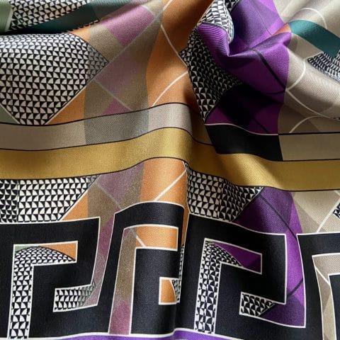 greek key scarf - aphrodite grey silk scarf - ancienne ambiance luxury scarves