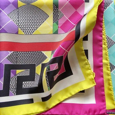 greek key scarf - aphrodite pink silk scarf - ancienne ambiance luxury scarves