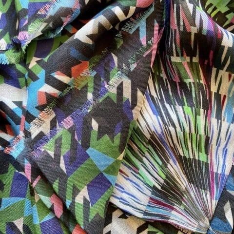 houndstooth scarf - artemis black cashmere blend scarf - ancienne ambiance scarves
