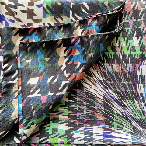 houndstooth scarf - hounstooth print silk scarf - artemis black silk twill scarf