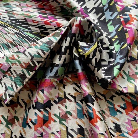 houndstooth silk scarf - artemis white silk twill scarf - ancienne ambiance luxury scarves