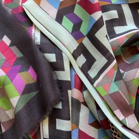 greek key silk scarf - athena cashmere blend - ancienne ambiance luxury scarves