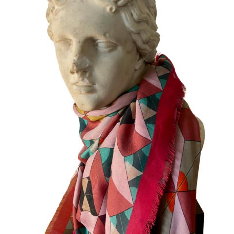 demeter red print modal cashmere scarf 140 x 140 - cashmere modal shawl - ancienne ambiance luxury scarves