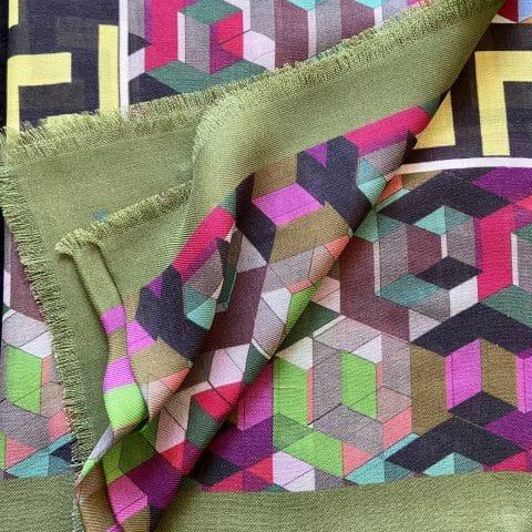 greek key silk scarf - minerva cashmere blend - ancienne ambiance luxury scarves