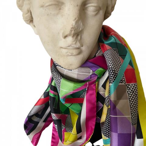 aphrodite pink goddess silk twill scarf - greek key silk scarf - ancienne ambiance