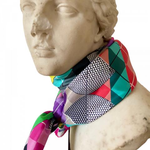 aphrodite pink goddess silk twill scarf - greek key silk scarf - ancienne ambiance neck scarf