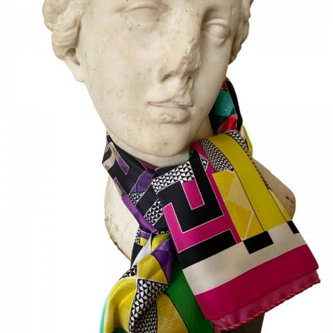 aphrodite pink goddess silk twill scarf - greek key silk neck scarf - ancienne ambiance