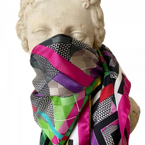 aphrodite pink goddess silk twill scarf - greek key silk scarf - ancienne ambiance silk face covering scarf