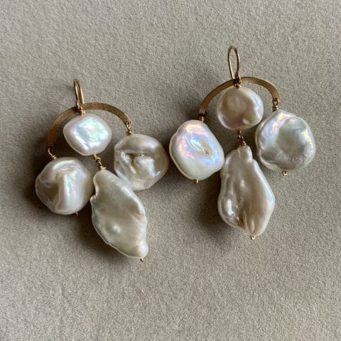claire van holthe baroque pearl chandlier earrings - fresh water pearl earrings - ancienne ambiance
