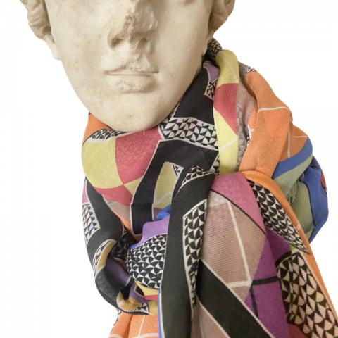 goddess statue - aphrodite orange print greek key modal cashmere scarf - ancienne ambiance luxury scarves