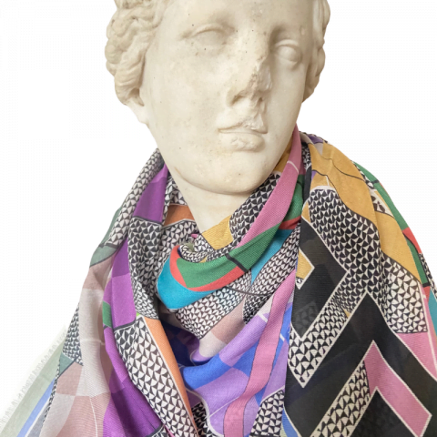 goddess statue - aphrodite greek key modal cashmere scarf - ancienne ambiance luxury scarves