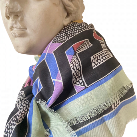 goddess statue - aphrodite grey greek key modal cashmere scarf - ancienne ambiance luxury scarves